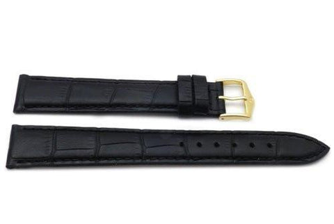 Genuine Textured Leather Alligator Grain Anti-Allergic Extra Long Black Watch Strap