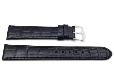 Genuine Textured Leather Alligator Grain Anti-Allergic Glossy Black Watch Strap