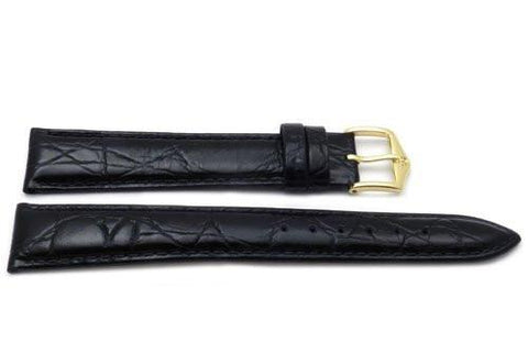 Genuine Textured Leather Crocodile Grain Anti-Allergic Glossy Extra Long Black Watch Band