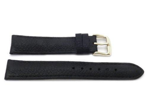Genuine Textured Leather Anti-Allergic Black Watch Strap