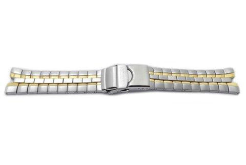 Seiko Dual Tone Stainless Steel Push Button Fold-Over Clasp Watch Bracelet