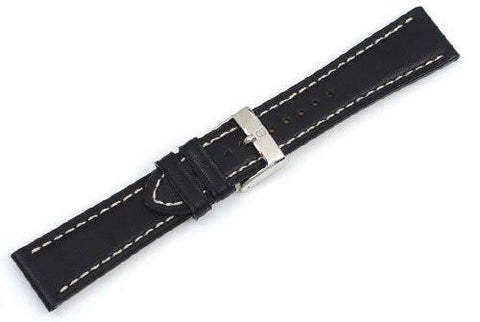 Genuine Swiss Army Ambassador Large Black Leather Strap with Contrast Stitching