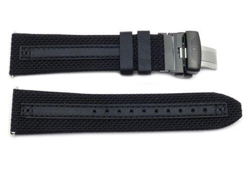 Genuine Swiss Army Alpnach Perfomex Black Nylon/Leather 23mm Watch Strap