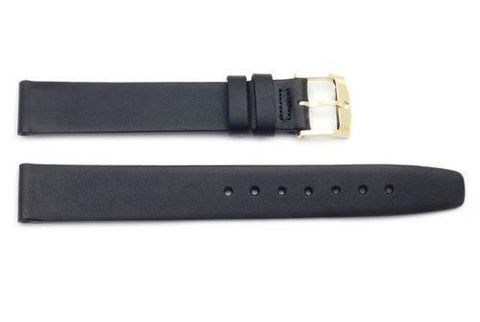 Genuine Movado 15mm Black Smooth Glove Leather Watch Strap