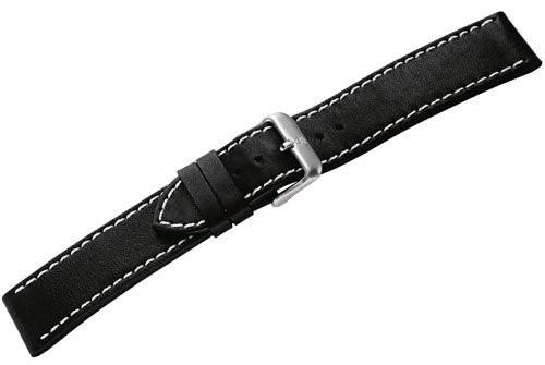Genuine Swiss Army Chrono Classic Black 21mm Leather Strap with White Stitching