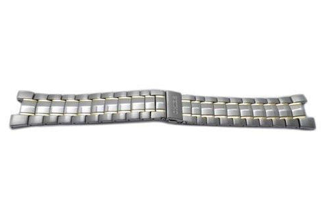 Seiko Dual Tone Stainless Steel Fold-Over Push Button Clasp 25mm Watch Band