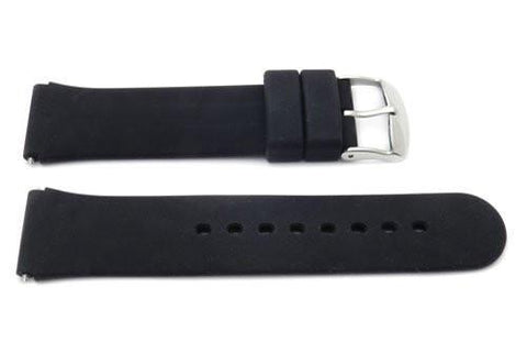 Black Smooth Silicone 18mm Watch Strap