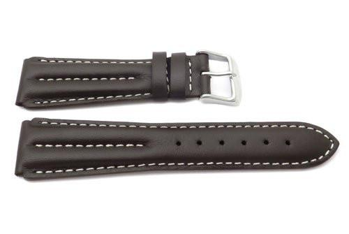 Genuine Brown Waterproof Leather Smooth White Stitched Watch Strap