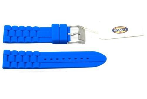 Fossil Blue Silicone Silver Tone Buckle 24mm Watch Band