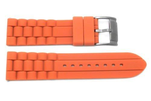 Fossil Orange Silicone Black Buckle 24mm Watch Strap