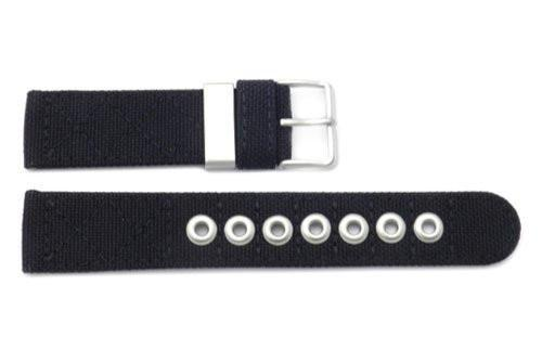 Genuine Citizen Black Nylon and Leather 21mm Watch Band