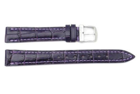 Citizen Eco-Drive Dark Purple Leather Alligator Grain 14mm Thin Ladies Watch Strap