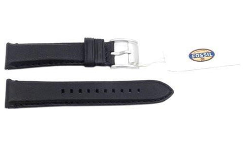 Fossil Genuine Black Textured Leather 22mm Watch Band