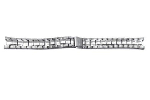 Seiko Silver Tone Stainless Steel Brushed and Polished 15mm Push Button Fold-Over Clasp Watch Bracelet