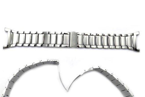 Seiko Silver Tone Stainless Steel Brushed and Polished 30mm Push Button Fold-Over Clasp Watch Bracelet