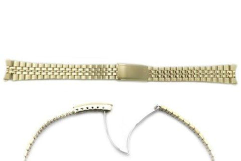 Seiko Gold Tone Stainless Steel 13mm Fold-Over Clasp Watch Bracelet