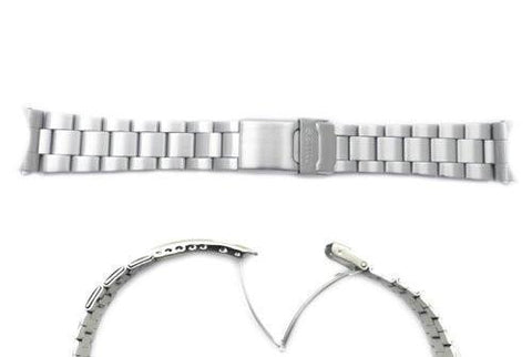 Seiko Silver Tone Stainless Steel 22mm Double Locking Fold-Over Clasp Watch Bracelet