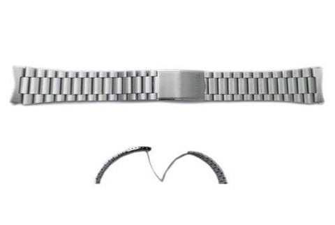 Seiko Silver Tone Stainless Steel 19mm Fold-Over Clasp Watch Bracelet