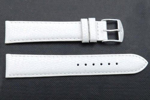 ZRC Genuine White Leather Lizard Grain Waterproof Anti-Allergic Watch Strap