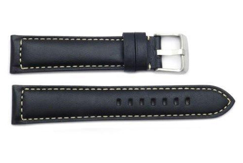ZRC Genuine Calfskin Smooth Leather White Stitching Watch Strap