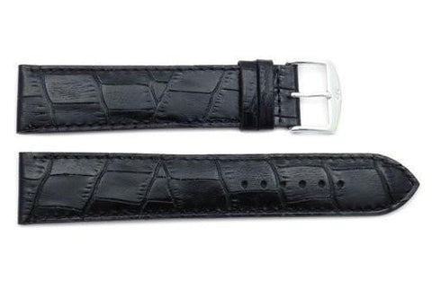 ZRC Genuine Black Leather Alligator Grain Waterproof Anti-Allergic Long Watch Strap