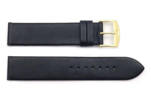 ZRC Genuine Smooth Soft Black Lambskin Leather Anti-Allergic Watch Strap