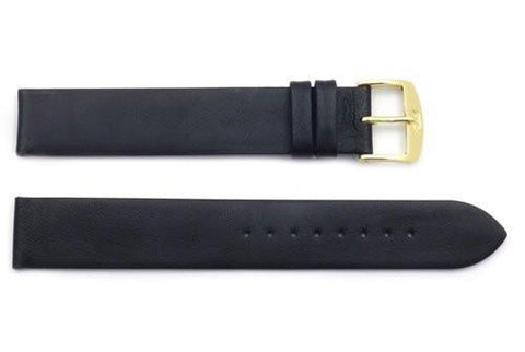 ZRC Genuine Smooth Soft Black Lambskin Leather Anti-Allergic Long Watch Strap