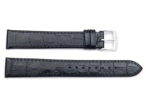 ZRC Genuine Black Leather Crocodile Grain Watch Strap