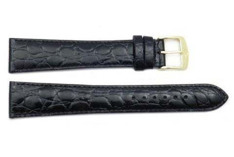 ZRC Genuine Leather Crocodile Grain Anti-Allergic Waterproof Long Watch Band