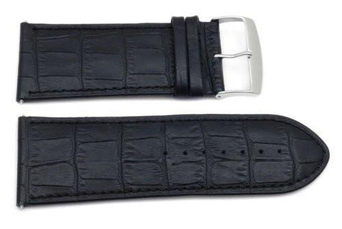 Genuine Leather Crocodile Grain Texture Extra Wide 34mm Watch Band