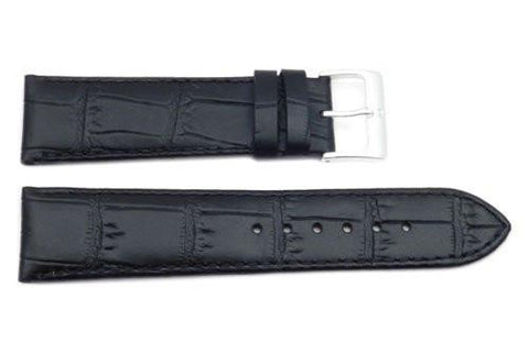 Genuine Textured Leather Crocodile Grain Anti-Allergic Black Watch Strap