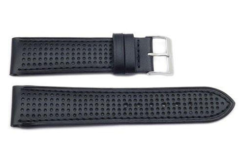 Genuine Black Leather Sweat Resistant Anti-Allergic Watch Band
