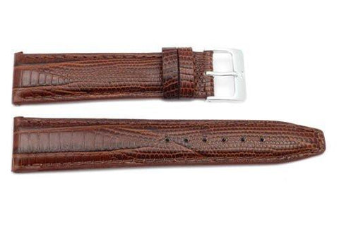 Genuine Textured Leather Alligator Grain Anti-Allergic Brown Watch Strap