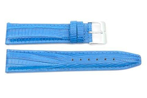 Genuine Textured Leather Alligator Grain Anti-Allergic Light Blue Watch Strap