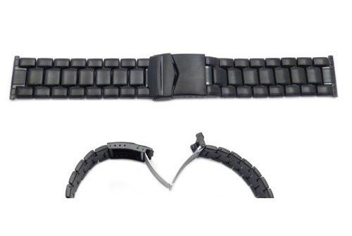 Hadley Roma Mens IP Black Plating Stainless Steel Wide Link Design Watch Bracelet