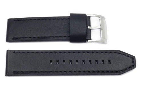 Fossil Black Smooth Leather 24mm Thick Watch Strap
