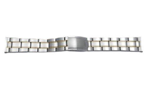 Seiko Dual Tone Stainless Steel 20mm Fold-Over Clasp Watch Bracelet