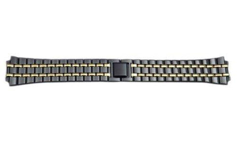 Seiko Dual Tone Black and Gold Titanium Carbide Nitride Stainless Steel Fold-Over Clasp 18mm Watch Bracelet