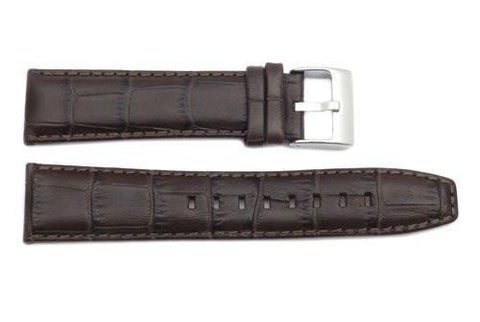 Kenneth Cole Genuine Leather Brown Alligator Grain 22mm Watch Strap