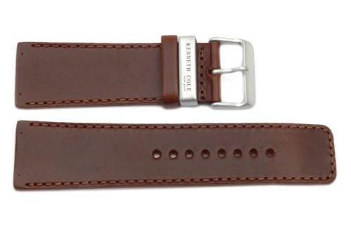 Kenneth Cole Genuine Smooth Brown Leather Square Tip 26mm Watch Band