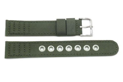 Genuine Citizen Olive Nylon and Leather Eco-Drive 18mm Long Watch Strap