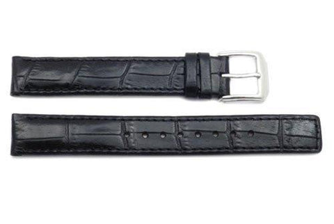 Kenneth Cole Reaction Genuine Leather Black Crocodile Grain Square Tip 14mm Watch Strap