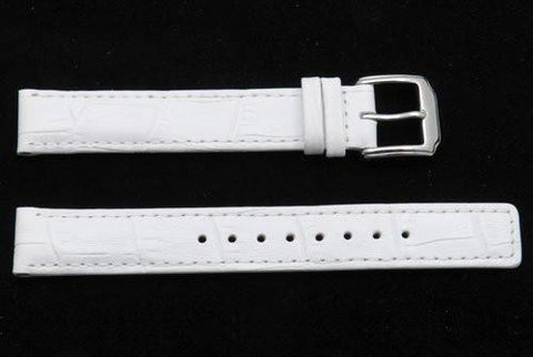 Kenneth Cole Reaction Genuine Leather White Crocodile Grain Square Tip 14mm Watch Strap