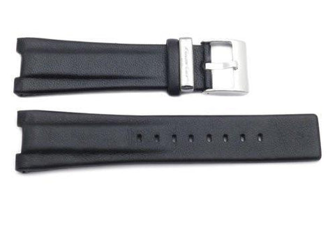 Kenneth Cole Genuine Smooth Black Leather Square Tip 25/10mm Watch Band
