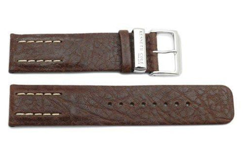 Kenneth Cole Genuine Textured Leather Brown Square Tip 22mm Watch Band