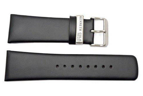 Kenneth Cole Genuine Smooth Black Leather Square Tip 28mm Watch Band
