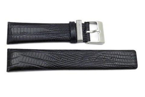 Kenneth Cole Genuine Textured Leather Black Alligator Grain 22mm Watch Strap
