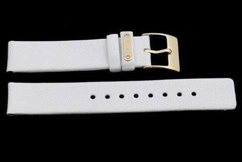 Kenneth Cole Genuine Textured White Leather Square Tip 18mm Watch Band