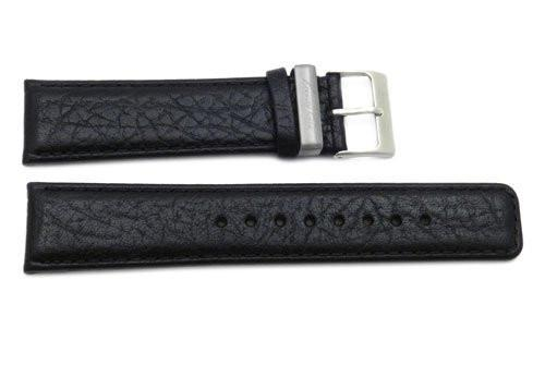 Kenneth Cole Genuine Textured Black Leather Square Tip 22mm Watch Band