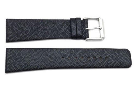 Kenneth Cole Genuine Textured Black Leather Extra Long 24mm Watch Strap